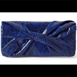 Blue Indigo Snake Print Clutch Wallet Shoulder Bag
